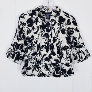 Quo.ta.tion Floral Button Jacket Size 4